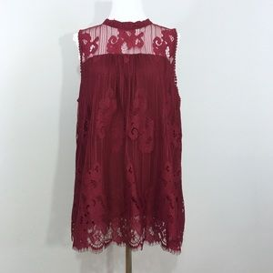 NWT Sharagano Sleeveless Lace Blouse Burgundy Red